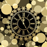 Golden clocks with snow. Vector background with golden clocks with snow Royalty Free Stock Photo