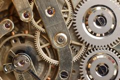 Golden Clockwork. Detail of watch machinery. Old mechanical pocket watch. Macro shot. Royalty Free Stock Photo