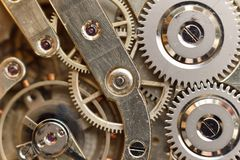 Golden Clockwork. Detail of watch machinery. Old mechanical pocket watch. Macro shot. Stock Image
