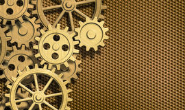 Golden clockwork gears metal background Stock Photography
