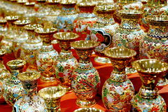 Golden cloisonne enamel bottles Stock Images