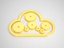 Golden Cloud Computing Icon on bright Background Royalty Free Stock Image