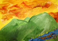 Golden clouds. Over the mountains children work Royalty Free Stock Image
