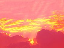 Golden clouds on pink sky Royalty Free Stock Photography