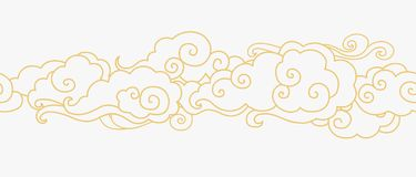 Golden clouds in the sky. Vector horizontal seamless border in oriental style. Traditional asian ornament Royalty Free Stock Image
