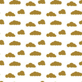 Golden clouds vector seamless pattern. Dense sky print for textile. Stock Photo
