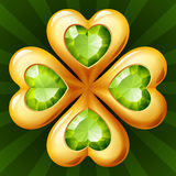Golden clover. With green crystals Stock Images