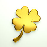Gold Clover Logo with four leaves Stock Photo