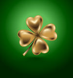 Golden clover leaf, vector illustration for St. Patrick day. Isolated four-leaf on green background. Jewelry 3d design Stock Photo