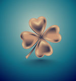 Golden clover leaf, vector illustration for St. Patrick day. Isolated four-leaf on turquoise background. Jewelry 3d retro design Royalty Free Stock Image