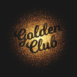 Golden Club Glowing Particles Vector Background. Golden club bright shimmer glowing round particles vector background. Scatter shine tinsel light explosion Stock Photo
