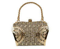 Golden clutch bag Royalty Free Stock Photography