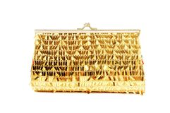 Golden clutch royalty free stock photo