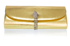 Golden clutch, closeup, on a white Stock Images