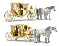 Golden coach with an open door, harnessed with a pair of white horses. Set of 3d illustrations vector illustration