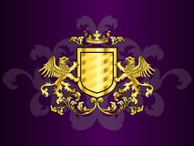 Golden Coat of Arms with Griffins stock illustration
