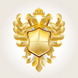 Golden coat of arms. On white Stock Photography
