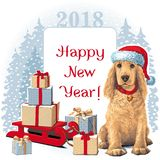Dog sitting in Santar hat next to gift. Golden Cocker Spaniel Dog sitting in Santa hat next to gift. Vector Royalty Free Stock Images