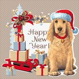 Dog sitting in Santar hat next to gift. Golden Cocker Spaniel Dog sitting in Santa hat next to gift. Vector Royalty Free Stock Photo