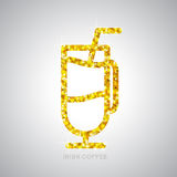 Golden cocktail Irish coffee flat icon. Royalty Free Stock Photo