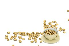 Golden coffee beans with coffee cup on white background.3D illus. Tration Stock Photo