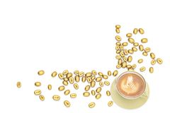 Golden coffee beans with coffee on white background.3D illustrat. Ion Stock Photos