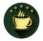 Golden coffee cup and five star icon with long shadow effect Stock Photography