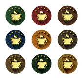Golden coffee cup and five star icons set Stock Photos