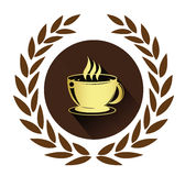 Golden coffee cup icon with long shadow effect Stock Image