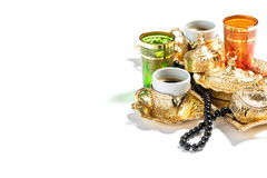 Golden coffee cups Ramadan kareem Rosary beads Royalty Free Stock Photo