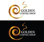 Golden Coffee Shop Logo Stock Images