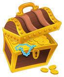 Golden coffer with treasure, full of coins, vector illustration