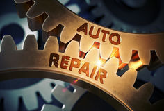 Golden Cog Gears with Auto Repair Concept. 3D Illustration. Stock Photography