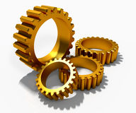 Golden cog gears Stock Image