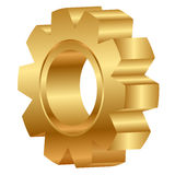 Golden cog wheel Stock Images