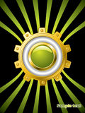 Golden cogwheel with button on green lined brochur Stock Photo