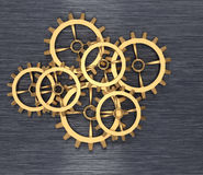 Golden cogwheels Royalty Free Stock Photo