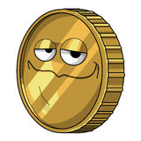 The golden coin. A smiling golden coin illustration stock illustration