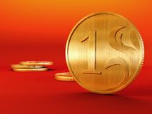 Golden coin. 3d rendering of the golden coins stock photo