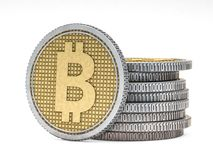 Golden coin with bitcoin symbol. Digital currency. 3D. Rendering Stock Images