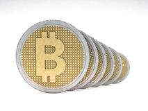 Golden coin with bitcoin symbol. Digital currency. 3D. Rendering Royalty Free Stock Images