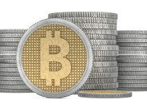 Golden coin with bitcoin symbol. Digital currency. 3D. Rendering Stock Image
