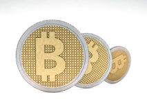 Golden coin with bitcoin symbol. Digital currency. 3D. Rendering Stock Photo