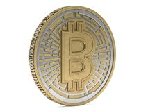 Golden coin with bitcoin symbol. Digital currency. 3D. Rendering Royalty Free Stock Photo