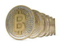 Golden coin with bitcoin symbol. Digital currency. 3D. Rendering Royalty Free Stock Photography