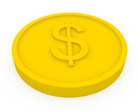 Golden coin in cartoon style Royalty Free Stock Photos