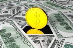 Golden Coin in center of Dollar Bills Stock Photography