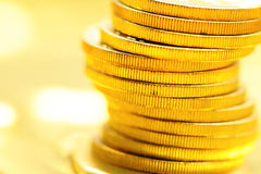 Golden coin close up Royalty Free Stock Images