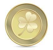 Golden coin with clover Stock Photos
