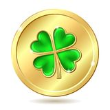 Golden coin with clover Royalty Free Stock Photography